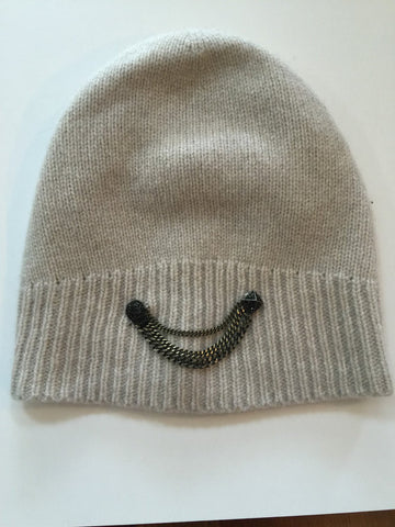 Ribbed cashmere rocker chic slouchy chain and charm beanie