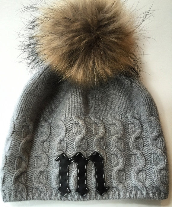 Cashmere slouchy beanie with detachable fox pom-pom & cut out leather letter initial
