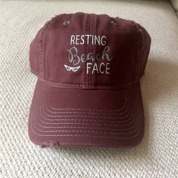 Perfect beach or pool distressed cap with Resting Beach Face hand painted