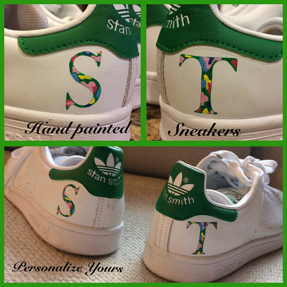 Send us your sneakers and we will hand paint your initials, school, camp or whatever!!