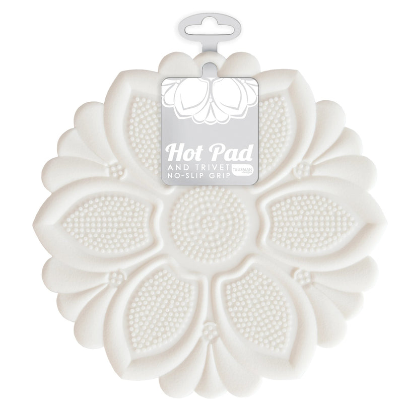 Hot Pad/Trivet, No-Slip Grip, White