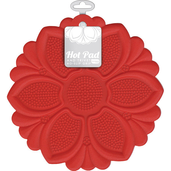 Hot Pad/Trivet, No-Slip Grip, Red
