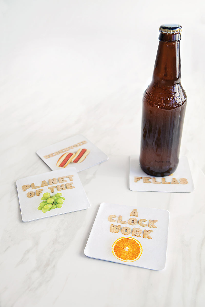 Food Puns Cardboard Coasters Films