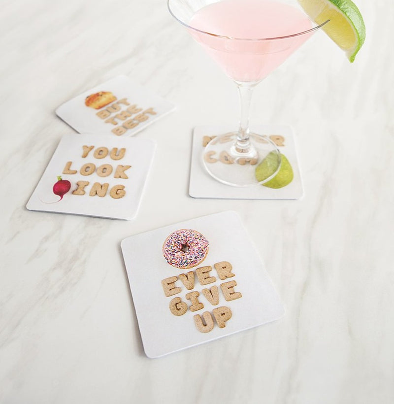 Food Puns Cardboard Coasters Empower
