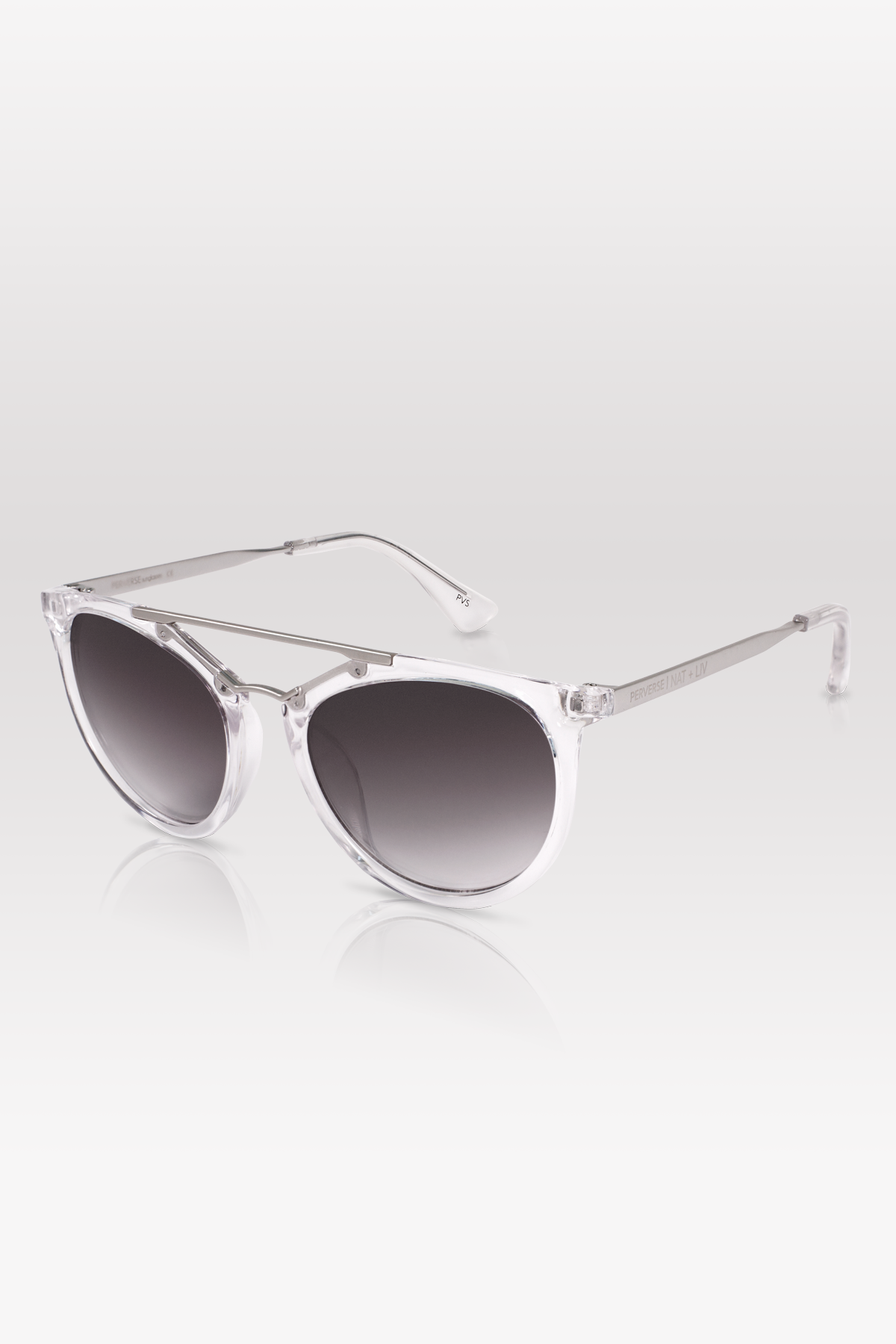 01-Clear: Transparent frames, brushed silver double brow bar, black gradient lenses.
