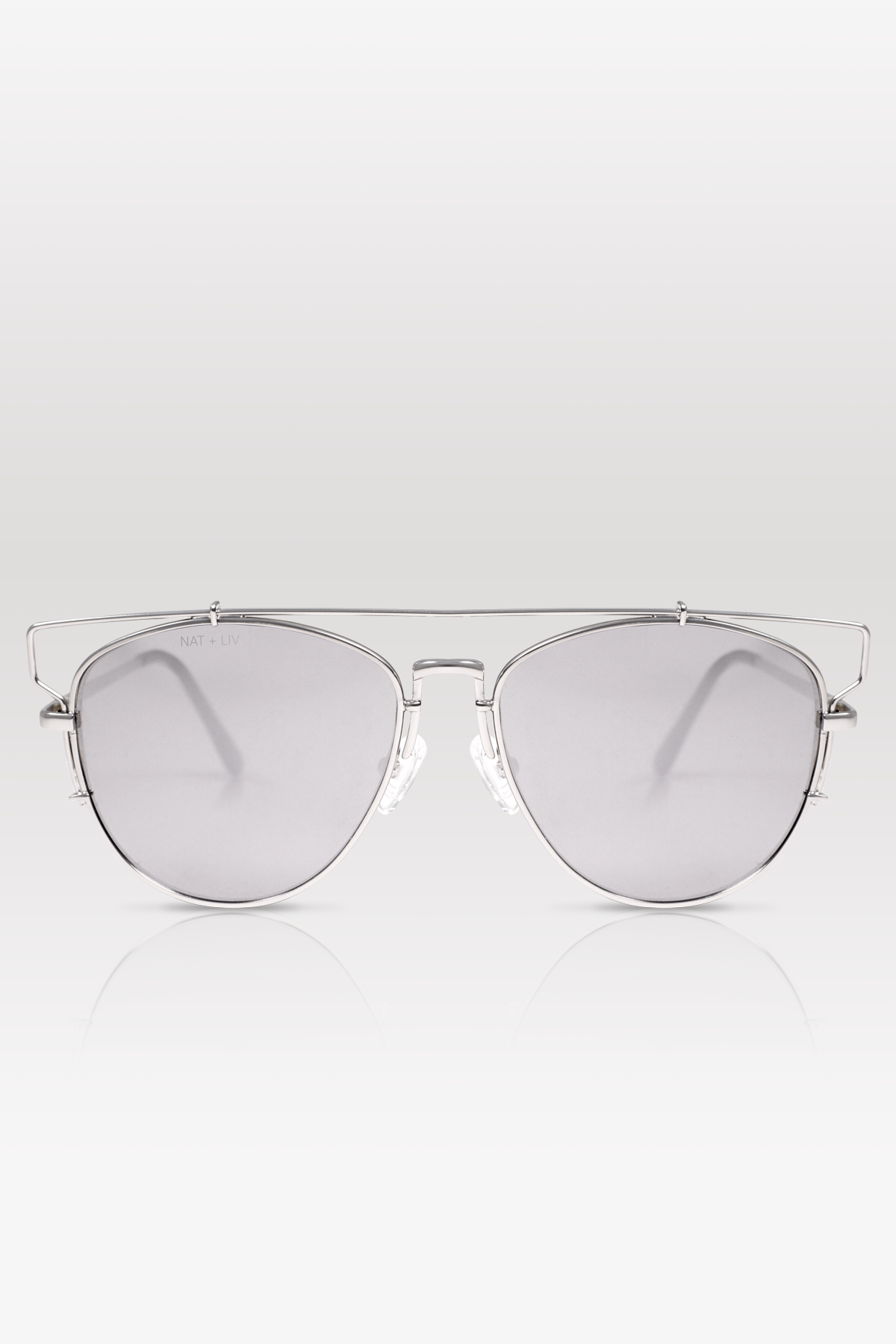 01-Platinum: Ultra-slim & shiny platinum metal, prominent brow bar, silver mirror lenses.