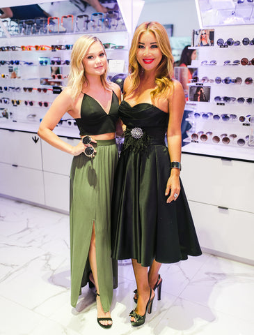 Olivia Holt with former NYX founder and PERVERSE sunglasses founder Toni Ko holding style Madness