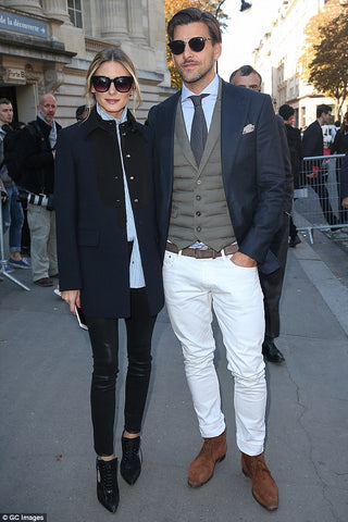 Olivia Palermo sunglasses Paris Fashion Week with husband Johannes Huebl
