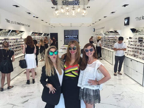 PERVERSE Sunglasses founder Toni Ko with Sarah Michelle Gellar Downtown Los Angeles Store Opening