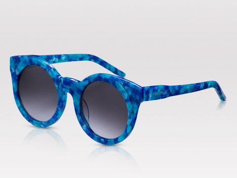 Sunglasses that Match your Labor Day destination PERVERSE sunglasses Pretty round acetate blue marble sunglasses
