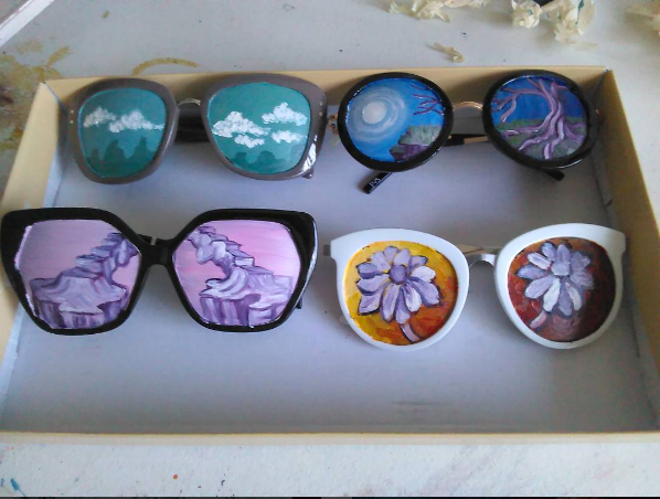 Brittany Balcom @Brittany_Balcom paints PERVERSE sunglasses for DTLA opening event