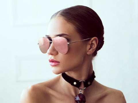 Sunglasses that Match your Labor Day Destination PERVERSE Toni Bologni rose gold mirror aviator sunglasses