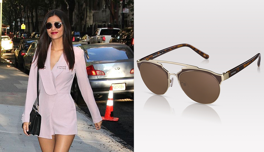 Victoria Justice purple outfit Victoria Justice sunglasses PERVERSE sunglasses the chew