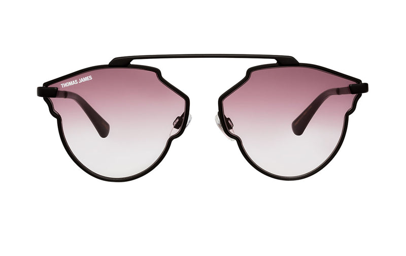 01-Plum: Scalloped frame with single brow bar in matte black frame and temple.  Transparent gradient plum color lens with black ear tip. UV400