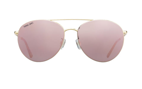 02-RoseGold: Modern aviator in petit round shape with gold metal frame.  Rose Gold mirror lens with tort ear tip. . UV400