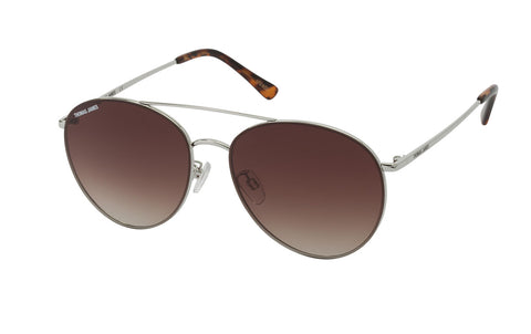 03-Brown: Modern aviator in petit round shape with a glossy silver metal frame and temple.  Slight gradient brown lens with tort ear tip.  UV400