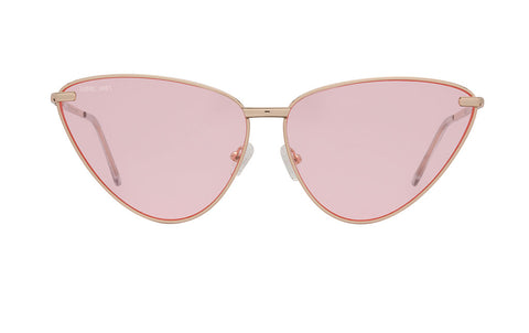 01-Pink: Retro inspired cat eye frame with a glossy gold frame. Transparent pink lenses. . UV400