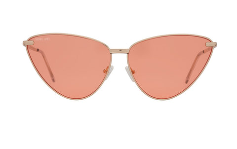 02-Peach: Retro inspired cat eye frame with a glossy gold frame. Transparent peach lenses. . UV400