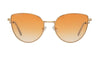 01-Hunny: Gold round cat eye frame with geometric and rigid temples.  Honey color gradient UV400 lenses