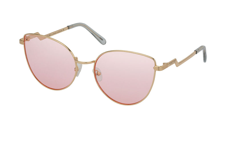 02-Bunny: Gold round cat eye frame with geometric and rigid temples. Baby pink gradient UV400 lenses