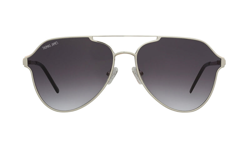 02-Grey: Glossy silver aviator frame with geometric single brow bar.   Black gradient lenses. POLARIZED lens.  UV400