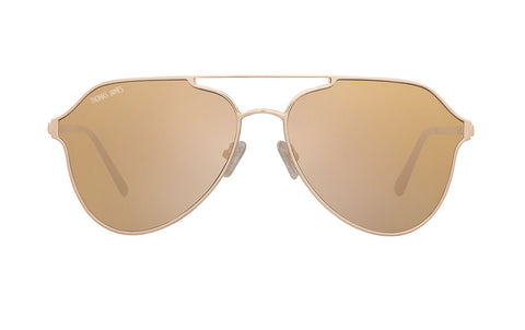 03-Golden Pink: Glossy gold aviator frame with geometric single brow bar.   Beige mirrored lenses. POLARIZED lens.  UV400