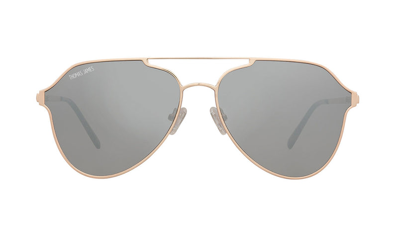 04-Metal: Glossy gold aviator frame with geometric single brow bar.   Silver mirror lenses. POLARIZED lens.  UV400