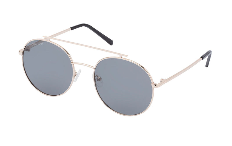 02-BlackCherry: Round aviator in gold metal frame with solid smoke lens.  Polarized. UV400.