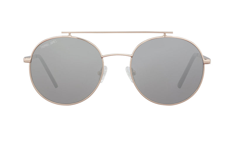 03-SilverCherry: Round aviator in gold metal frame with silver mirror lens.  Polarized. UV400.