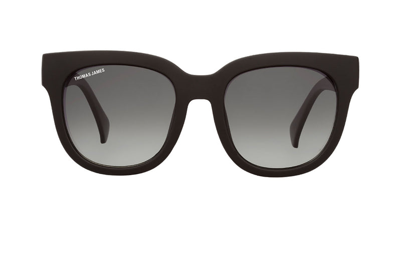 07-Matte: Universally flattering square shape PC frame in matte black color with slight gradient smoke color lens.  POLARIZED.UV400
