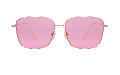 03-Berry: Rounded square fit with ultra-thin lightweight gold frames, transparent pink lenses.