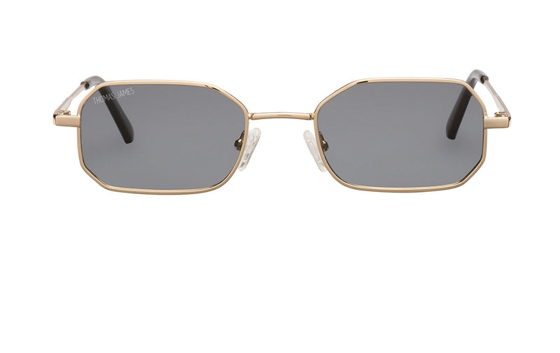 02-Rush: Petite sized wide octagon gold frame with solid smoke color lens. Rigid temples.  POLARIZED, UV400.