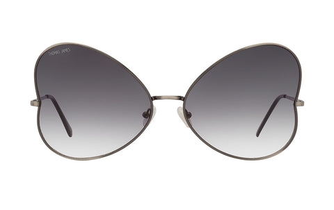 02-Black: Vintage inspired, antique silver butterfly frame. Black gradient lenses.  UV400