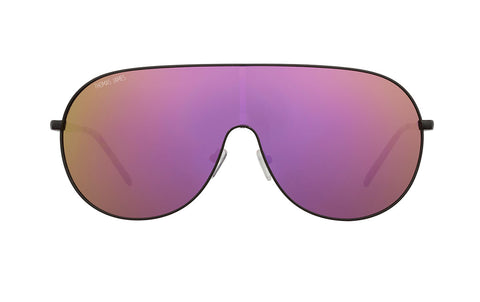 02-Party All Night: Block out the haters with this black shield frame. One purple and gold mirrored lens. POLARIZED. UV400