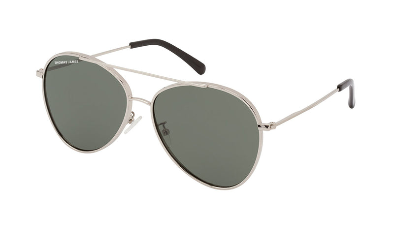 01-CLASSIC: Silver metal frame aviator with teardrop shape lens in solid GREEN SMOKE color.  UV400