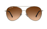 02-BROWN: Silver metal frame aviator with teardrop shape lens in GRADIENT BROWN color.  UV400