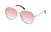 03-ROSY: Silver metal frame aviator with teardrop shape lens in GRADIENT ROSY ( PINK) color.  UV400
