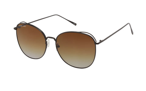 01-Diella: black matte metal frame with brown to gray gradient lens.  Butterfly frame.
