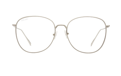 03-Fantastic: Semi butterfly shape.  Silver metal frame with transparent lens.  UV400