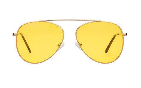 04-MelIsGorg: Glossy gold aviator frame with single brow bar without the nose bridge bar.  Yellow transparent lenses.  UV400