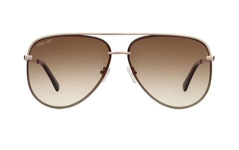 02-Chocolate: Oversized aviator with strong brow-bar.  GOLD  frame with BROWN gradient lens. POLARIZED.  UV400.