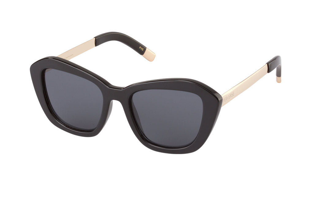 02-Darling: Black glossy and chunky PC frame with gold metal hardware with solid black lens.  Geometric Cat-eye shape.