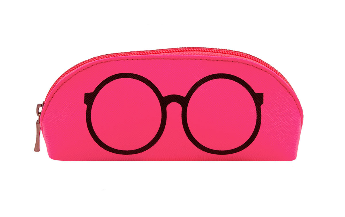 01-Neon Pink: Highlighter pink w/black sunglasses design.