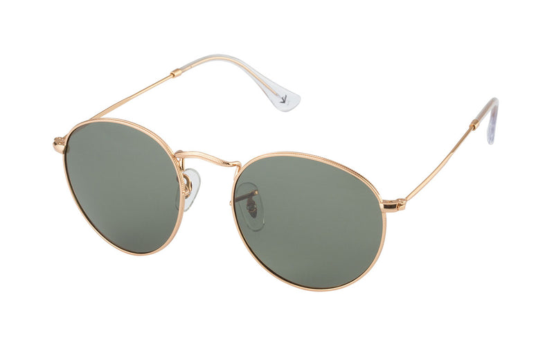 02-Quarter: Razor-thin gold etched frames w/ dark olive lenses.