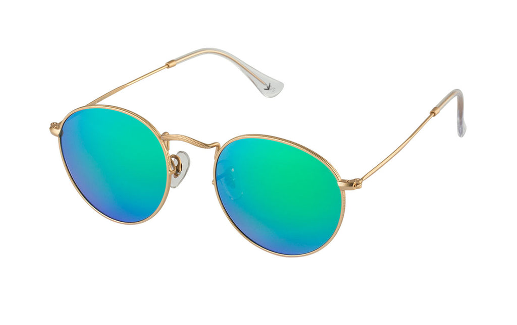 04-New: Razor-thin gold etched frames w/ blue-to-green mirror lenses.