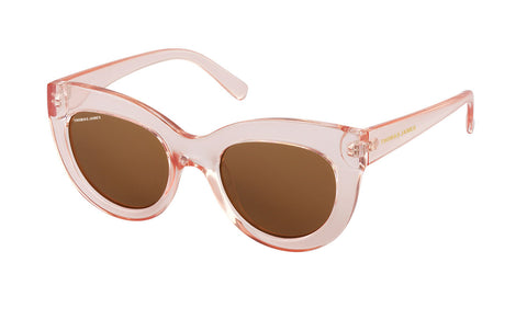 01-Femme: Pink transparent PC frame with solid brown lens.