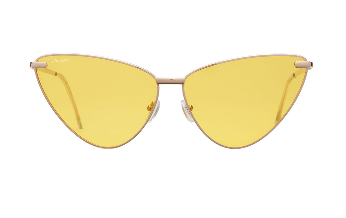 01-Gold: yellow lens with shiny gold metal frame.  Super Cat-Eye frame.   POLARIZED.  UV400