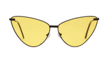 02-Black: Yellow lens with shiny black metal frame.  Super Cat-Eye frame.  POLARIZED. UV400