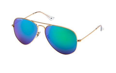 S04-Green: Gold metal frame with Green / purple mirror GLASS lens.  Classic aviator frame in size SMALL