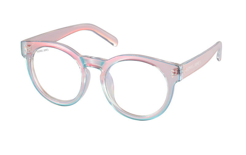 01-Ethereal:  Ethereal aurora transparent color PC frame with transparent UV400 lens.  With high quality hinges.